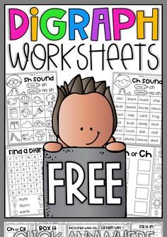 Digraph Worksheets - ch, th, sh Free digraph worksheets. Your students will have so much fun completing these digraph worksheets for ch, sh and th. The mini packet features 4 worksheets which will allow your students to practice digraph sounds. First Grade Phonics, First Grade Reading, First Grade Classroom, Music Classroom, Future Classroom, Classroom Ideas, Kindergarten Reading, Teaching Reading, Kindergarten Phonics