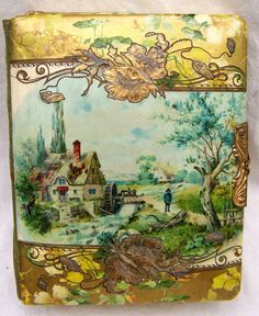 Victorian CELLULOID Album  .. Music box .. gilded and ornate ... Art Nouveau, Edwardian
