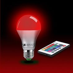 LE® 5W Dimmable A60 RGB LED Bulbs, Color Changing, 160° Beam Angle, 16 Color Choice, Medium Screw Base, Remote Controller Included, LED Light Bulbs, http://www.amazon.com/dp/B007V1VOI8/ref=cm_sw_r_pi_awdm_diwJvb0S0BMJE