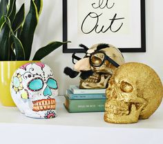 Plastic skulls paint up just as beautifully as pumpkins for Halloween decor. Also included in this post are local Saskatoon businesses Leyda's Gluten-Free Cafe and Ingredients Artisan Market.