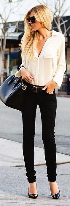 black jeans and heels with blouse