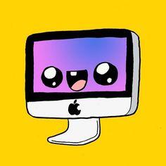 Mac kawaii #apple #mac #drawings #drawing #draw #cute #kawaii