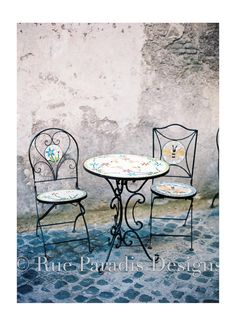 Mosaic Coffee Table with shabby wall by RueParadisDesigns on Etsy