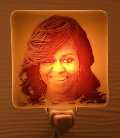 A personal favorite from my Etsy shop https://www.etsy.com/listing/496840430/michelle-obama-night-light-fused-glass