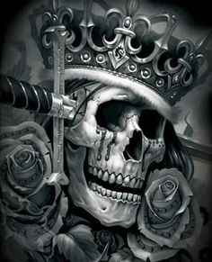 Skull King with Blade and Roses