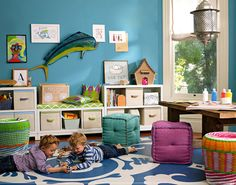 Kids' Playroom Design Ideas Don't have an extra room to devote to a full-time playroom? Check out these fun solutions for adding a play area into your kid's bedroom. Playroom Design, Kids Room Design, Playroom Decor, Kids Decor, Home Decor, Playroom Ideas, Toddler Playroom, Playroom Bench, Playroom Colors
