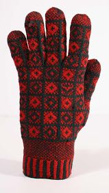 "Glove in the Rose pattern, ""JCB"" at wrist , Loom Knitting Patterns, Knitting Charts, Knitting Stitches, Knitting Projects, Crochet Patterns, Knit Mittens, Knitted Gloves, Knitting Socks, Labor"