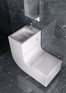 This toilet/sink combo is beautiful and possibly perfect for a toilet under the stairs...