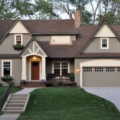 Exterior paint colors for house with brown roof 55