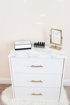glam marble and gold vanity