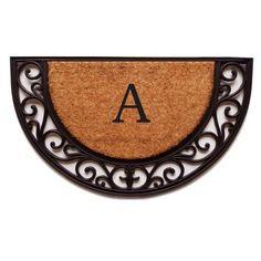 Plantation Arch Monogram Doormat (Letter M), Black