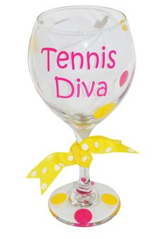 SlamGlam - Tennis Diva Wine Glass  We love designing custom glasses for tennis teams, tennis events, parties and more.