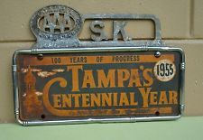1955 Tampa Florida Centennial License Plate w/ AAA Tampa Tag Topper & Frame