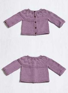 Free Knitting Pattern for a Baby Cardigan with a Lace Leaf Yoke Lace  Knitting Patterns f5102c4cca