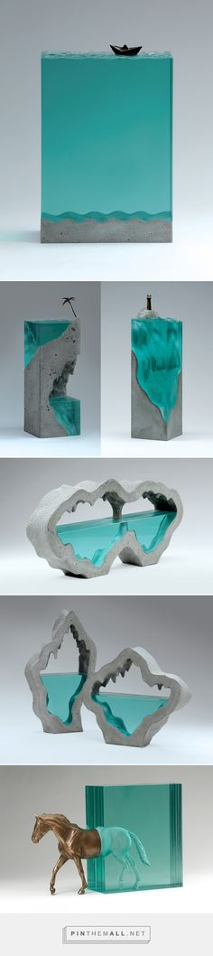 Broken Liquid: New Bodies of Water Sculpted from Layered Glass by Ben Young | Colossal - created via http://pinthemall.net