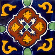 """Mexican tiles in """"Dolores"""" style. Antique with terra cotta, yellow and green red clay tile design over dark blue background. Shipping from Mexico to the US and Canada is estimated for four weeks. Mexican Tile Kitchen, Mexican Ceramics, Unique Tile, Blue Floor, Clay Tiles, Mexican Style, Decorative Tile, Tile Design, Cobalt Blue"""
