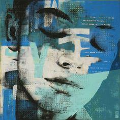Typopop Pop Art Face in Blue - A - 10J by Ronald Hunter