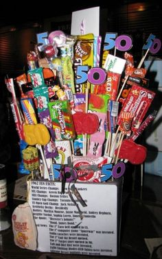 50th Birthday Candy Arrangement Full Of Retro See More Gag Gifts And