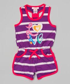 Loving this Purple 'Love' Stripe Romper - Toddler & Girls on #zulily! #zulilyfinds
