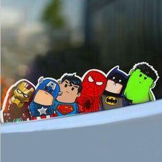 Marvel & DC cute car window stickers #ironman #captainamerica #superman #spiderman #batman #hulk