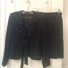 Anne Klein Black Suit NWOT, size 2, Jacket and Skirt. Very feminine ruffled and tie jacket. Both prices fully lined. Anne Klein Other