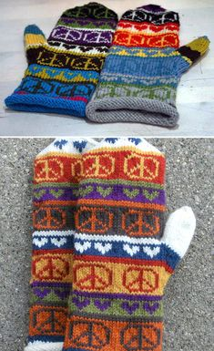 Free Knitting Pattern for Peace Sign Mittens Vintage Crochet Patterns, Baby Knitting Patterns, Free Knitting, Mittens Pattern, Crochet Squares Afghan, Knitting Projects, Bunt, Peace Symbols, Tejidos