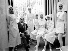 Nurses uniform designed by Pierre Cardin circa 1970.