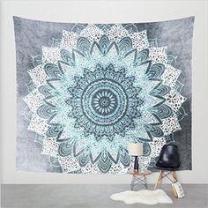 I really like this light blue mandala wall tapestry. Mexidi Mandala Bohemian Printed Indian Bedspread Magical Wall Hanging Beach Towel Tapestry (L, Snow)