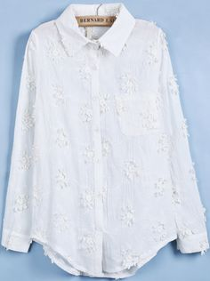 White Lapel Long Sleeve Embroidered Lace Blouse US$36.07