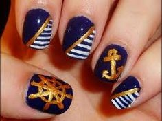 Nail Art Ideas: Nautical Nails Hello to all the nail art enthusiasts (like me) over there! :) Here's a segment I came up with wherein I'll be showing you some ideas and inspirations for nail art! Anchor Nail Designs, Anchor Nail Art, Nautical Nail Art, Nail Art Designs, Nautical Theme, Nautical Anchor, Nautical Stripes, Get Nails, How To Do Nails