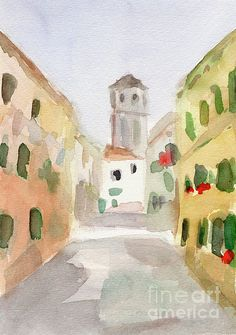 Geraniums Cannaregio Venice, Italy watercolor painting. Unframed, framed prints and canvas art for sale from $37. © Beverly Brown. www.beverlybrown.com