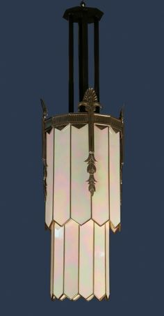 Art Deco bronze and art glass chandelier