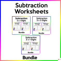 Utilize these worksheets to reinforce two-digit by one- digit, two-digit by two-digit, three-digit by one-digit subtractionThis resource includes 60 pages ( 4 items per page) of worksheets and answer key.Check out our other Math resources. Click on the link below.Math resources... School Resources, Classroom Resources, Math Resources, Math Activities, Classroom Organization, Classroom Management, School Stuff, Back To School, Subtraction Worksheets