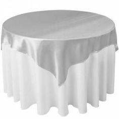 60 x 60 Satin Silver Table Topper Overlay