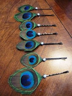 DIY Peacock Bobby Pins. #hair #accessories