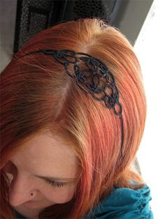 tatted headband frivolite