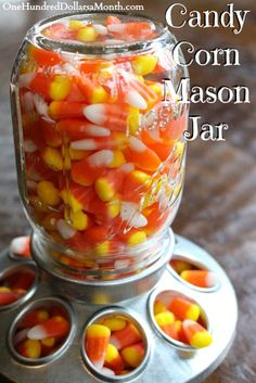 Candy Corn mason Jar for Halloween. Candy corns are quite possibly the best part about Halloween. Of course, it's cute to see the kids dressing up, blah, blah, blah, but it is really, really awesome to swing by the kitchen counter and grab a big ol' handful of candy corn that's just out...