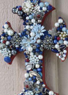Large Wall Cross -Jewelry Mosaic Beaded  One of a Kind Cross Holiday Decor. $135.00, via Etsy.