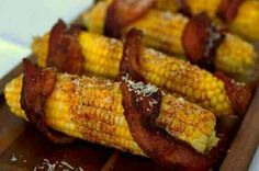 Bacon wrapped Corn on the cobb #Food #Drink #Trusper #Tip