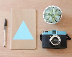 Teal Blue Triangle Notebook  squared graph paper by LesMiniboux, €12.00