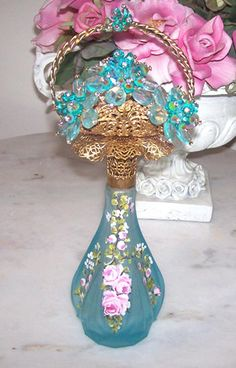 Gorgeous  Aqua Frosted Glass Perfume flower basket