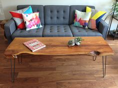 "Live Edge Coffee Table-Mid Century Modern-Console Table--Hairpin Legs  20"" W x 56"" L x 20"" H x 2.5"" T - BC Wood"