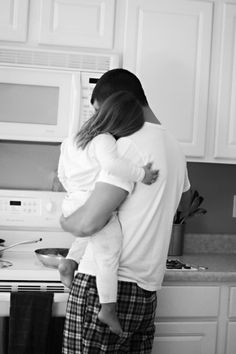 Snuggles daddy daughter bw black and white breakfast