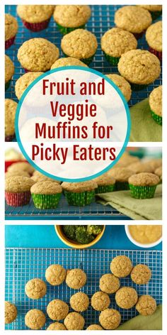 Kids Meals Fruit and Veggie Muffin Recipe for Picky Eaters These are the perfect back up plan when you have those days where your picky eater just won't eat anything! - If your kids enjoy muffins, this is one you'll want to save! Toddler Muffins, Toddler Snacks, Toddler Dinners, Kid Snacks, Lunch Snacks, Healthy School Snacks, Healthy Foods To Eat, Healthy Muffins For Kids, Kids Healthy Snacks
