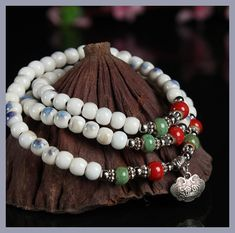 National winds and porcelain kiln multi - color 108 beads beaded bracelet ceramic multi - ring hand string BELLE NOEL