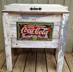 Coke sign on table decor