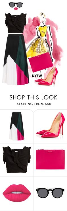 """""""Untitled #1295"""" by almtann ❤ liked on Polyvore featuring Proenza Schouler, Christian Louboutin, RED Valentino, Givenchy, Lime Crime, Valentino, contestentry and NYFWHotPink"""