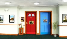 Find out what features can make a corridor and doors easier for a person with dementia to identify and use