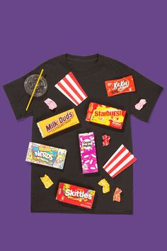 Movie Theater Floor: Dress in all black and attach popcorn, old movie tickets, and empty candy wrappers all over your outfit to complete this theatrical look. (Bonus: If you spill something on yourself at the party, it won't matter!) Place some of your favorite wrappers or ticket stubs on your shirt to personalize this fun and creative DIY costume. Find more fun, creative, and last minute DIY Halloween costumes here.