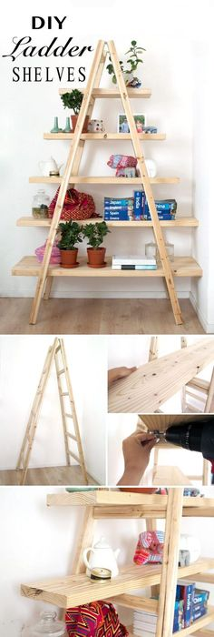 DIY Ladder Shelves / The simplicity of this design adds rustic industrial feel to your decor.